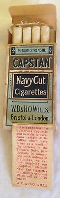 rare  1939  wills capstan 9 cigarette  packet + contents & leaflet