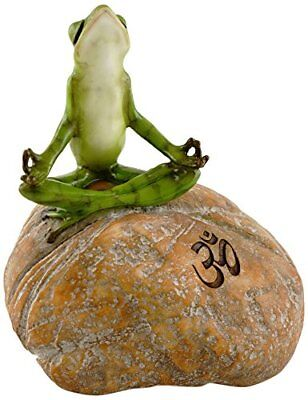 Meditating Frog on Rock with Om Symbol (4340) Yoga Pose Miniature NEW 5.5""