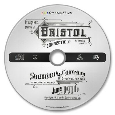 Bristol, Connecticut 32 Color Sanborn Maps Sheets Year 1916 on New CD