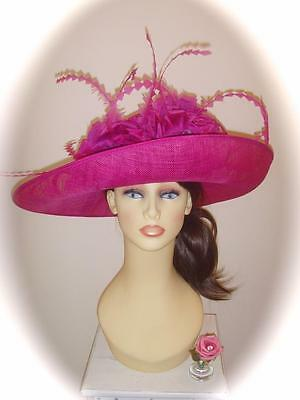 Mother of Bride Ascot Occasion Wedding Condici Hat, Fuchsia Pink