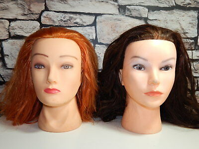 2x hair dressing / make-up practice model training heads brown brunette & ginger
