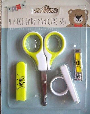 4 Piece Baby/toddler Manicure Set Hair Nail Clippers Grooming New Born Yellow