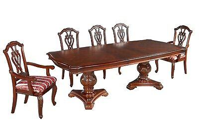 Mahogany Dining Table 6 Chairs Antique Style Set Red Regency Stripe Extendable