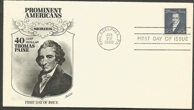Us Fdc 1968 Thomas Paine 40C Stamp Fleetwood First Day Of Issue Cover Phil Pa