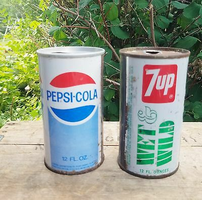 Vintage Pepsi and 7Up Steel Soda Pop Cans. 12oz., Both empty.