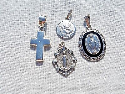 Lot of Vintage Sterling Silver Religious Pendants, Cross, Mary, Estate Jewelry