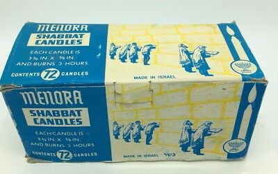 "Vintage Lot of 71 Menora Shabbat Candles 3 3/4"" x 5/8"" 3 Hr Burn Made in Israel"