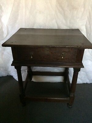 Georgian Carved Oak  Side table With 1 Drawer