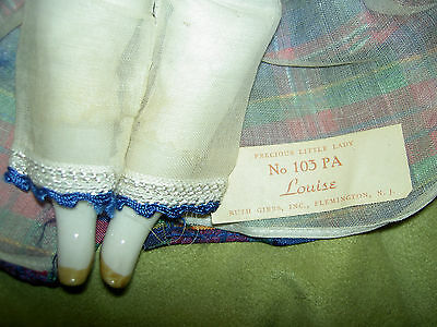 Rare LABELED 1940s china RUTH GIBBS Little Lady series, LOUISE doll, all orig.
