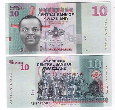 Swaziland - New Issue 10 Emalangeni Unc Banknote 2015 Year