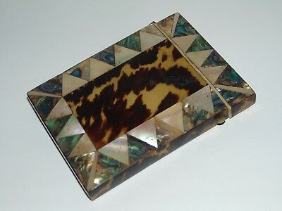 PRETTY ANTIQUE 1800's MOTHER OF PEARL ABALONE FAUX TORTOISESHELL CARD CASE