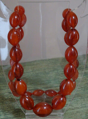 Antique Flame Amber Bakelite (Tested) Necklace Large Graduated Oval Beads 115Gms