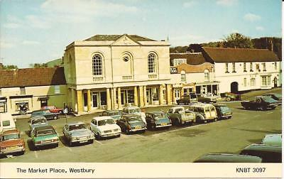 Postcard The Market Place Westbury (Old Cars)