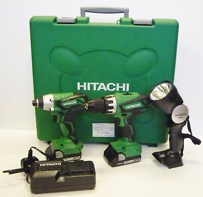 Hitachi 18v Twin Pack Drill & Impact Driver 2xBatteries +free torch TSC1718VTWIN