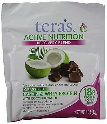 24X Tera's Active Nutrition Recovery Protein Blend Dark Chocolate Cocoa 24 Packs
