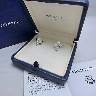 New Mikimoto Akoya Pearl Silver Screw-back Earrings 3 Pearls Gift Wrap AUTH
