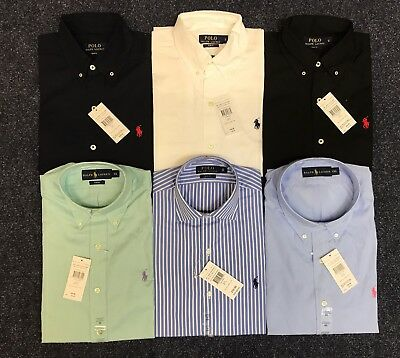 Polo Ralph Lauren Mens Genuine New Slim Fit Long Sleeve Poplin Shirts White Navy