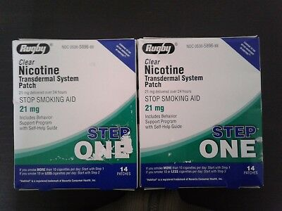 2 Boxes of Rugby Step One 21MG Nicotine Patches 28 Patches Total Exp 09/2019