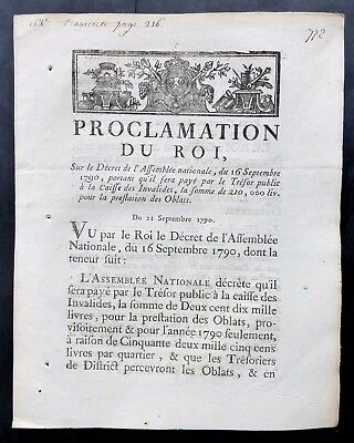 French Revolution  (September 21, 1790) Proclamation of the King on the Decree..