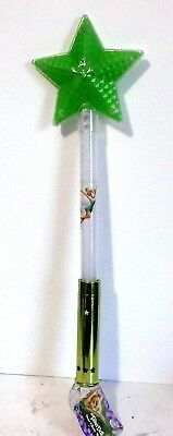 Disney Theme Parks Tinker Bell Light up Star Wand Green, 3 MAGICAL Flashing Stg