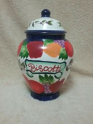Nonni's Biscotti Cookie Jar Tuscan Italian Fruit Colors