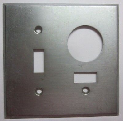 Vintage retro satin stainless 2 gang switch w. switched outlet combo plate cover