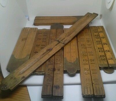 Collection Of 7 Antique / Vintage Boxwood Folding Rules