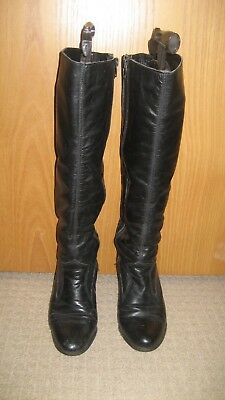 1970's Ladies Black Leather Boots size 4/38