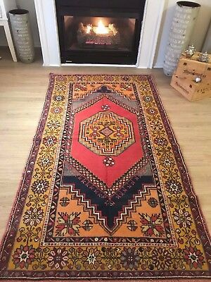 "VINTAGE ISPARTA WOOL TURKISH HAND-KNOTTED RUG, 6'9""x 3'9"" FREE SHIPPING!!!"