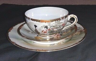 Vintage Oriental Trio CUP, SAUCER & PLATE Eggshell Fine Porcelain. Hand Painted