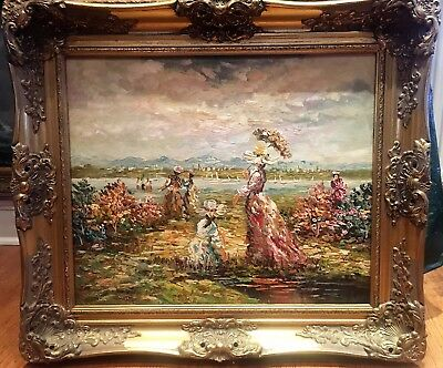 Oil Painting Victorian Beach Scene Large Circa Early - Mid 20Th Century
