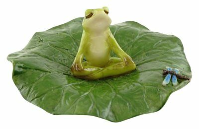 Frog Meditating on Lotus Leaf with Dragonfly Miniature (4514) NEW Fairy Garden