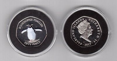 Falkland Islands - New Issue Colored 50 Pence Unc Coin 2017 Year Penguin