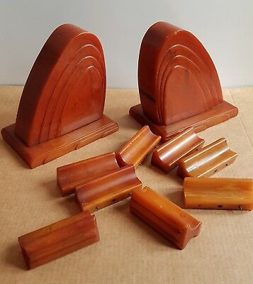 Bakelite Pair of English Carvacraft Bookends & drawer pulls 1.4 kg