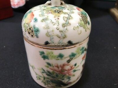 Antique Chinese Porcelain Lidded Jar or Tea Caddy Hand Painting very old