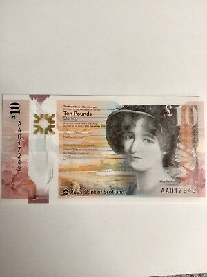 New £10 polymer plastic note low serial AA01