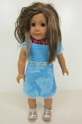 American Girl Doll Brown Hair Brown Eyes Blue Outfit Gray Sandals