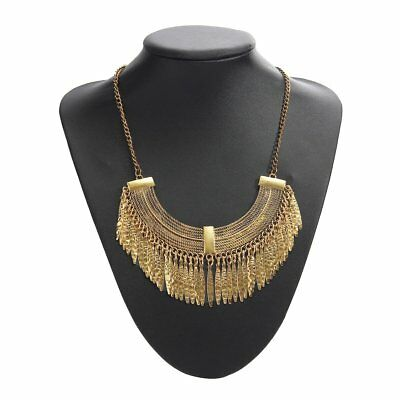 Chain Plastron woman jewelry Crystal Vintage Punk Bohemian fringe necklace O1Q6