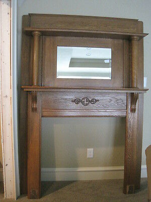 Antique Oak fireplace mantle surround with mirror