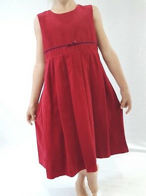 Vintage Laura Ashley Dress Red Velvet Party Xmas Smart Formal 116cm 6yrs 7yrs