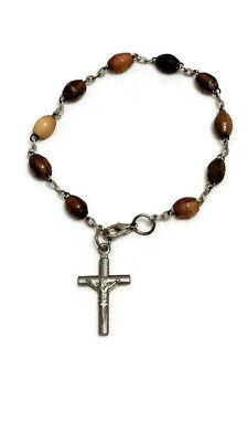Vintage Olive Wood Bracelet Rosary with Metal Cross Hand Made Holy Land