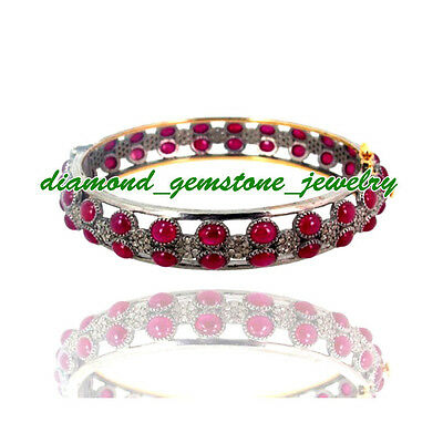 33.04ct-ROSE-CUT-DIAMOND-REAL-RUBY-ANTIQUE-VICTORIAN-WEDDING-SILVER-BRACELET-1Ps