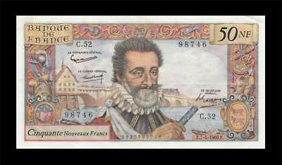 "7.4.1960 BANQUE DE FRANCE 50 NEW FRANCS ""Henry IV"" (( EF ))"
