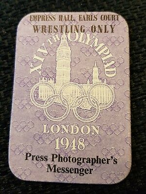 VGC London 1948 Olympics Press Photographer's Messenger Pass