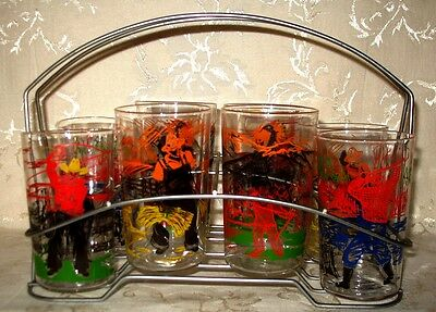 1960's Glass Set of 8 in their Original Holder, Cowboys, Indians, Woodsman, Farm