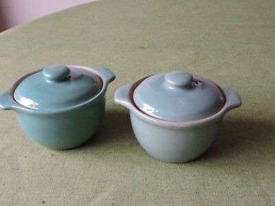 Denby Manor Green Soup Bowls with lid x 2.