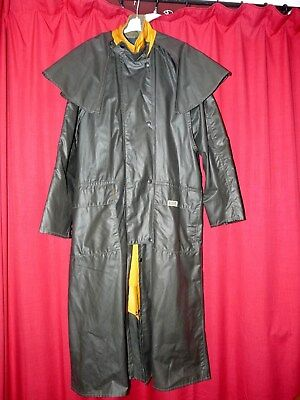 womans PUFFA long dry wax raincoat stockman style country outdoor shiny green MH
