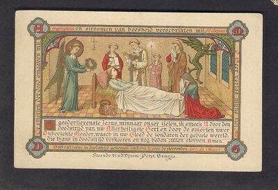 Antique Goldprint Holy Card ** The Pain of Death **