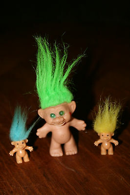 "Vintage Imperial Troll Doll 2 1/2"" Tall + Two 1"" Russ Troll Dolls no Clothes"