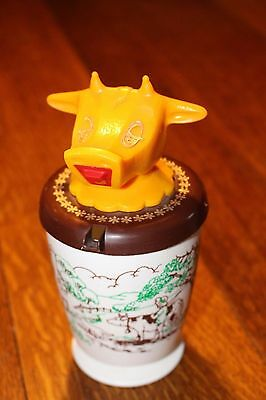 Vintage Whirley Industries Childs Sippy Cup no straw Cow Lid Design Made in USA